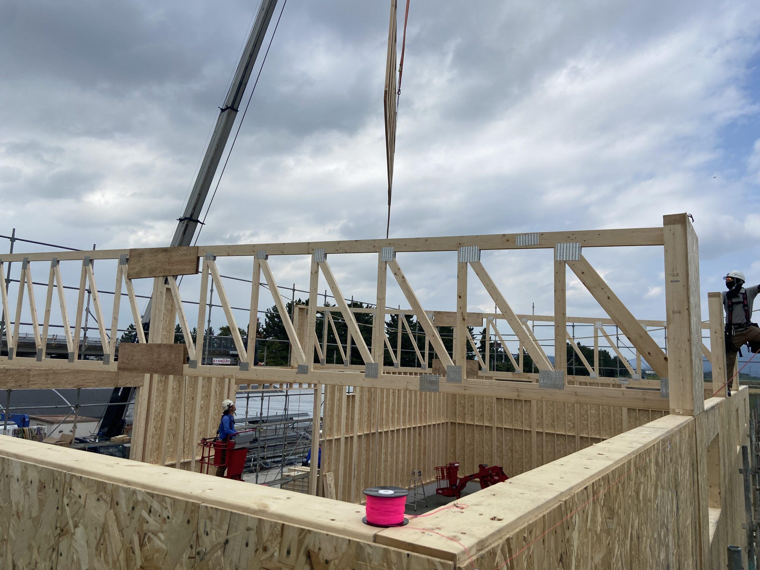 長浜市内の木造倉庫建設、始まりました。
